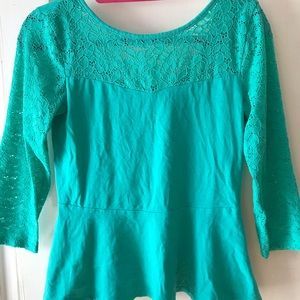 Express 3/4 Sleeve Lace Peplum Top